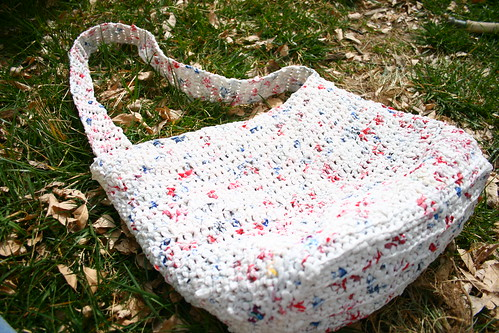 Crocheted plastic bag