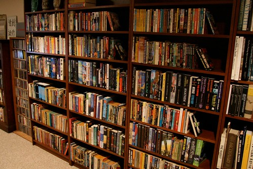 Three bookshelves of science fiction.