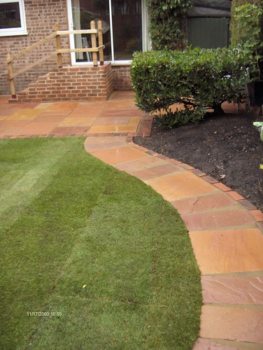 Indian Sandstone Patio and Lawn Image 21