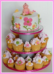 Baby Shower Cupcake Tower (TheLittleCupcakery) Tags: pink flowers baby tower yellow cake shower little cupcake tlc fondant the cupcakery xirj klairescupcakes