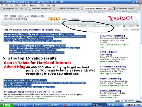 Maryland Internet Advertising on Yahoo