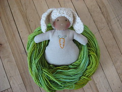 Bunny in handpainted merino nest (Fig & Me) Tags: bunny handpaintedyarn easter spring doll nest waldorf merino carrot handdyed figandme