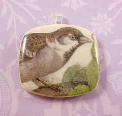 Vintage Bird Illustration Pendant 1