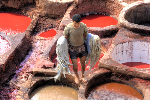 Fes tannery in red