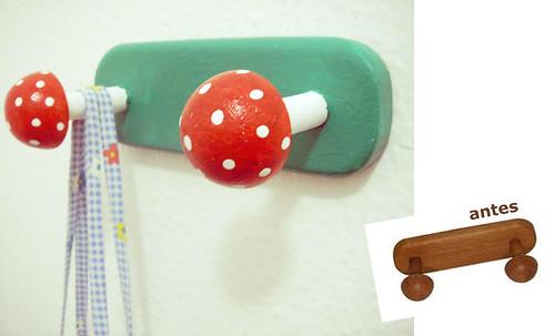 Cabide de parede de cogumelos