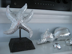 silver painted starfish and shells