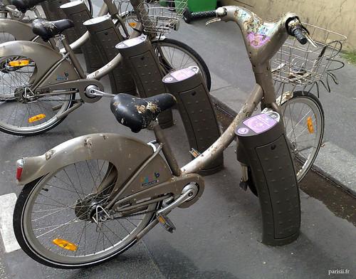 Vélos parisiens, recouverts de merde de pigeon