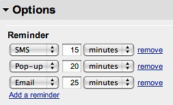 Google Calendar - Reminder - Options