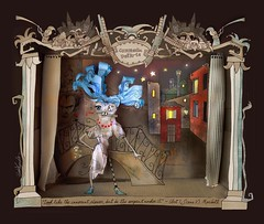 theater - IF (Baba Yagada) Tags: house illustration digital ink photoshop dark paper mixed media theatre photos surrealism stage gothic lena cardboard violence customized venetian grind baba rumpled grotesque commedia yampolsky colombina dellarte буратино yagada мальвина