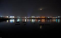 city of dreams ([s e l v i n]) Tags: sea moon india reflection boats lights citylights bombay nightlife mumbai cityofdreams selvin