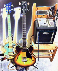 2 Basses and Amp and a Chair (Ran Dell's) Tags: life still chair bass guitar amp gibson peavy hofnot