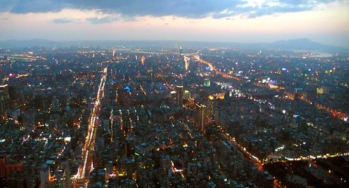 view from taipei 101 at nightfall