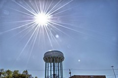 Sun flare over the water tower (Dave DiCello) Tags: sun colors photoshop nikon glare tripod watertower flare nikkor hdr highdynamicrange cs4 photomatix d40 tonemapped sunflares d40x imagesunoverwater evad310 davedicello sunflaresinhdr hdrsunflares nikonsunflare