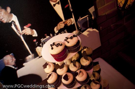 Mr and Mrs wedding cupcake tower Cupcakes by Retro Bakery Las Vegas via
