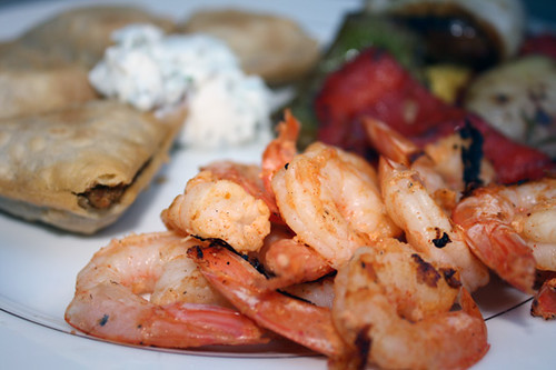 Indian Spiced Shrimp, Balsamic Vegetables, and Samosas with Dipping Sauce 2