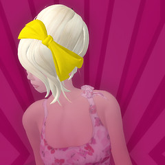 yellow ribbons in her hair