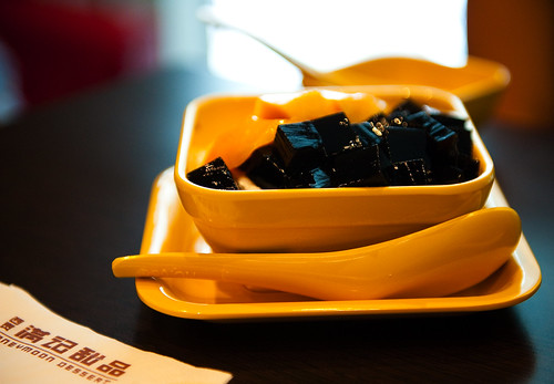 Mango black jelly dessert