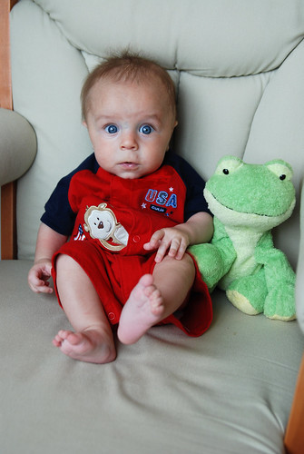 4 months, next to the frog