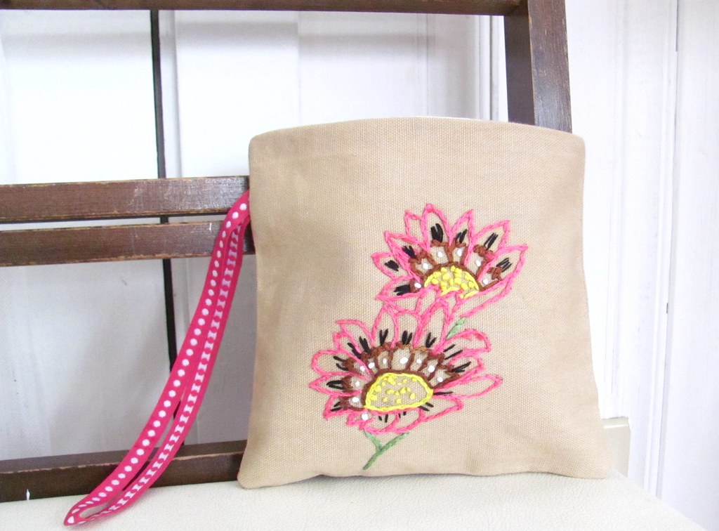 FREE SHIPPING Coastal Gazania Hand Embroidered Clutch