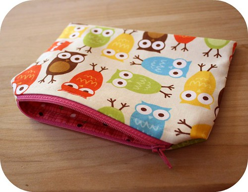 Owl Zippered Pouch - handmade