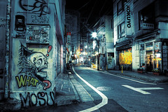 Street Art on Harajuku Dori (tokyofashion) Tags: street streetart art japan night dark japanese skull graffiti tokyo nadia jets harajuku what rrr dori hdr afp mosu basto 2011 ekys photomatix kokuyo zhangxiwei nearstys