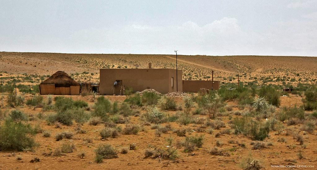 Yourte de berger et constructions modernes, en plein désert ouzbèk