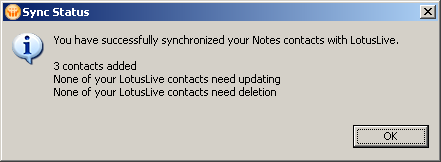 Notes Contact Sync to LotusLive Sync Status