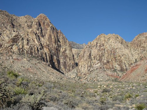 View of Black Velvet Wall to the left, Arrow's point is on the Buttress to the right.