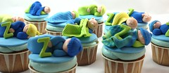 Baby Shower cupcakes (Fields of Cake) Tags: blue baby boys cupcakes toppers babyshower fondant