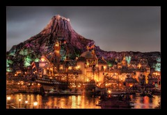 Dante's Inferno (The Devil in the Detail) Tags: disneysea water japan night canon reflections fun lights volcano tokyo evening bay harbor raw ship disney resort fantasy 5d hdr themepark photomatix
