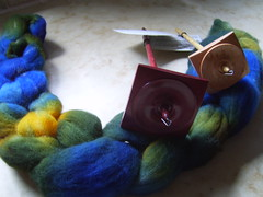 dyed roving and Spindlewood spindles