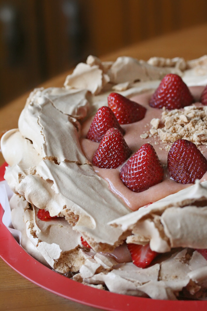 Brown Sugar Pavlova with Rhubarb Curd and Strawberries