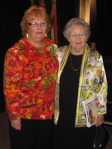 Susan receiving a lifetime achievement award (with her mom at right)