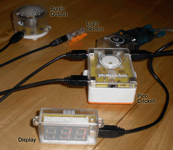 PicoCricket setup with a light sensor, digital display, and audio output pieces