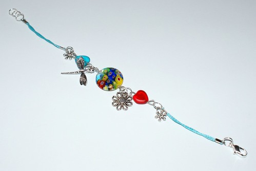 FRIENDSHIP of DAISY and THE LITTLE DRAGONFLY BRACELET with glass beads,Murano Millefiori glass