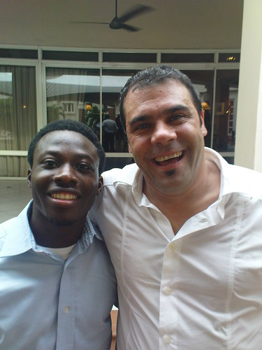 Kehinde Eseyin in a smile competition with Lucaino Ravenna, Head of Solution & Channel Management, SAP Africa.