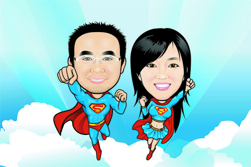 Couple Q-Digital caricatures - Superman & Supergirl