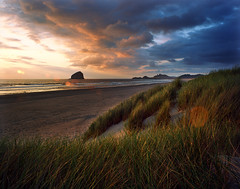 Bob Straub would have enjoyed the view (Zeb Andrews) Tags: sunset film beach beautiful grass oregon landscape photography coast pacificocean pacificnorthwest oregoncoast haystackrock capekiwanda pentax6x7 bluemooncamera zebandrews ektar100 bobstraubstatepark zebandrewsphotography