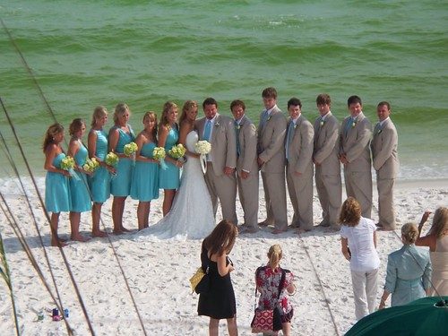 Wedding party in the surf