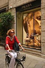 Via della Spiga -Milano (Nino H) Tags: italy milan fashion bike shopping women italia milano femme moda elegant prada italie vlo quadrilatero aplusphoto legance gettyimagesitalyq1