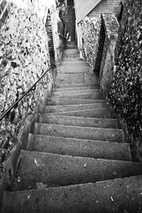 Stair to... (-Dj-) Tags: bw white stone noir down nb falling step honfleur et twisted blanc escalier marche tordu tomber descendre blackwhitephotos blackn