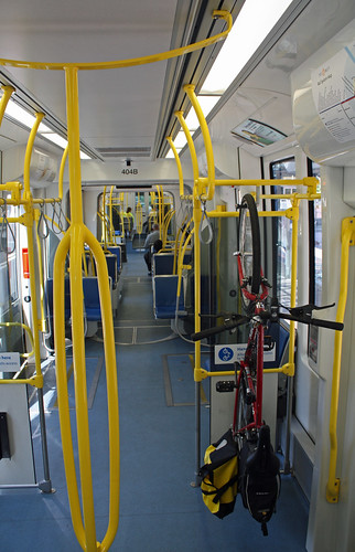 Inside Type #4 car #404 on the first day of the Yellow Line routed onto the transit mall.  Portland Oregon, August 30 2009.