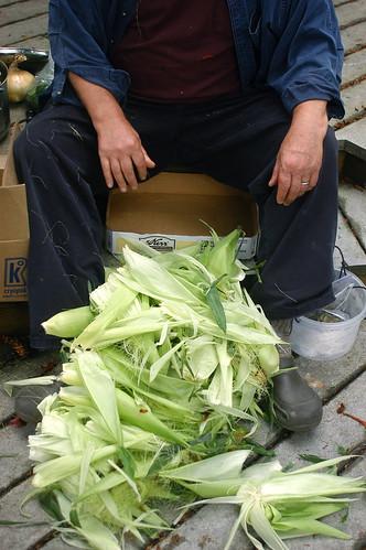 Jon with the shucked corn