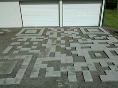 The first stage of the QR Code driveway (Eric Rice) Tags: landscape design googlemaps driveway googleearth porous qrcode satelliteview