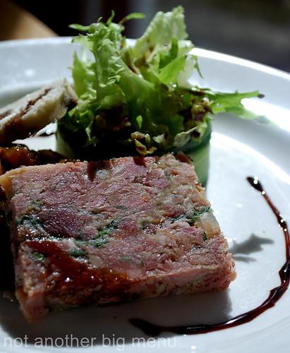 Bailbrook House Restaurant - Pressed ham hock and new potato terrine, onion chutney, olive bread