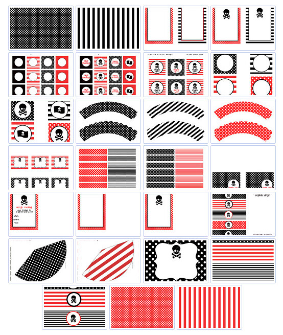 Red Black Printable Party Set  Print Cut Party Printables