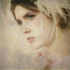 White Swan (Jerri Johnson (away)) Tags: pink portrait woman reflection texture hat vintage soft lace pastel profile feathers peach pearl delicate idream —obramaestra—