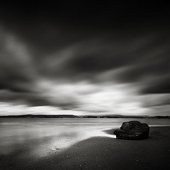 Black Rock (Andy Brown (mrbuk1)) Tags: ocean longexposure light cloud seascape reflection beach water contrast dark square landscape coast blackwhite sand shoreline stormy devon drama exmouth shimmer yesitdidrain