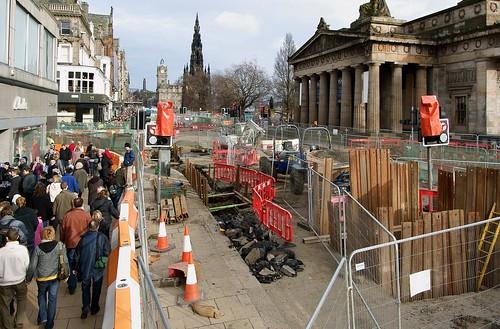 Tram chaos outside RSA in Edinburgh's Prince Street; Image courtesy of Flikr