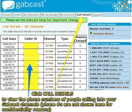 Gabcast call details